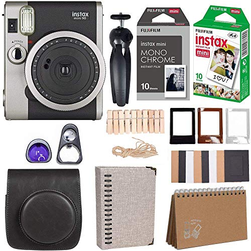 Fujifilm Instax Mini 90 Instant Camera + Fuji Instax Film (20 Sheets) + Giant Accessories Bundle(12 Piece) (Black)