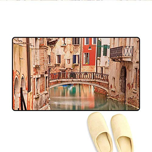 Door Mats,European Old Town with Stone Bridge Houses and Historic Water Canal Image,Customize Bath Mat with Non Slip Backing,Sand Brown Brown Red,Size:32