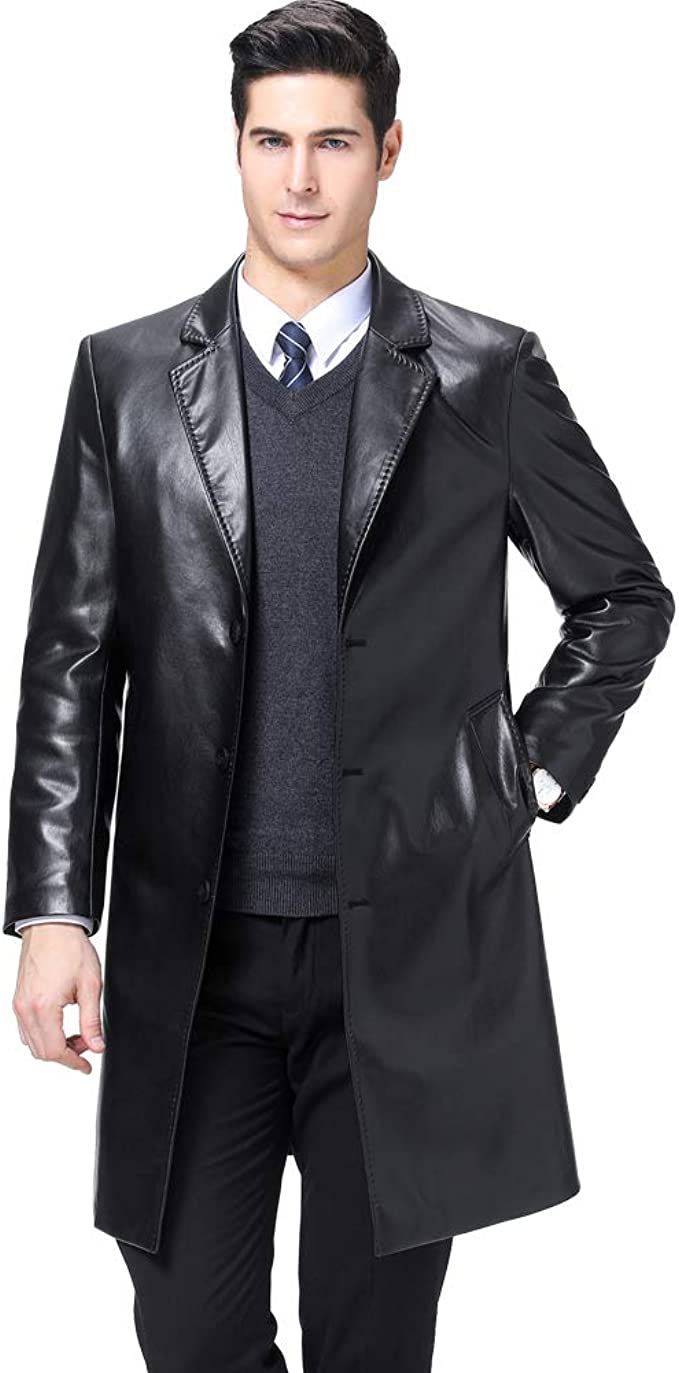 KUYOMENS Mens Business Suit Collar Long Trench Coat Casual Long PU Leather Jacket