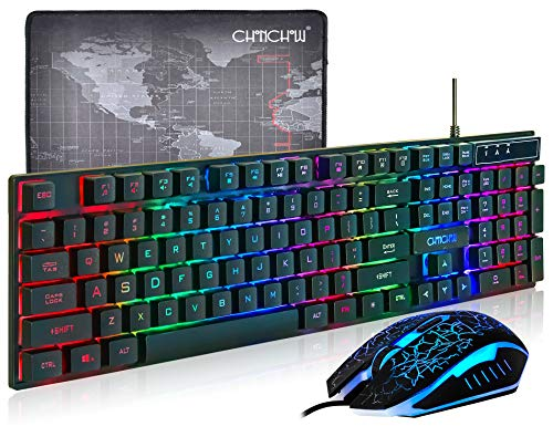 (Upgrate Version) CHONCHOW LED Backlit Wired Gaming Keyboard and Mouse Mousepad Combo US Layout USB Keyboards Mechanical Feel with Mutilmedia Keys Character Illuminated for Windows Mac,1910B