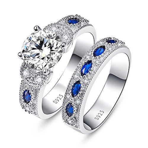 Zirconia Sapphire Cubic Blue Ring (BONLAVIE Rhodium Plated Round Cut Cubic Zirconia Created Blue Sapphire Bridal Rings Set for Women Size 6)
