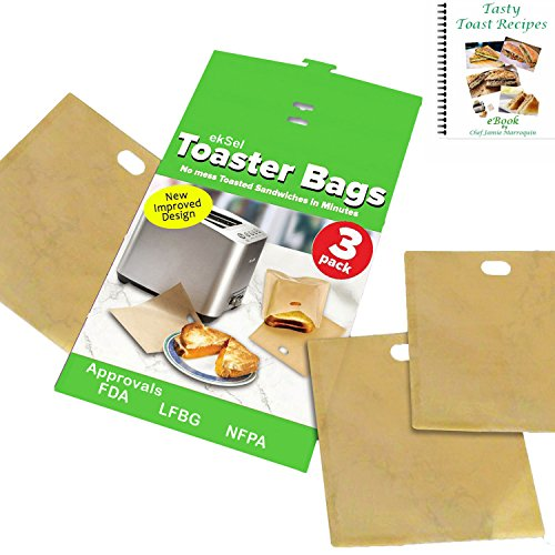 ekSel Non Stick Reusable Toaster Bags, Pack of 3 by ekSel