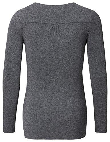 Noppies Top nurs ls Hada 2-Camisa premamá Mujer, gris (Anthracite Melange C247)