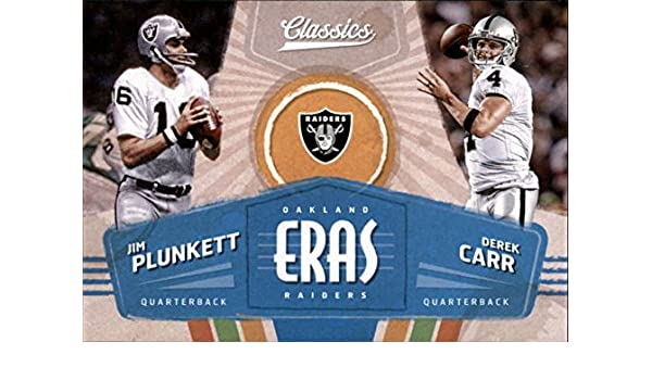 Amazon.com: Football NFL 2018 Classics Eras #2 Derek Carr/Jim Plunkett Raiders: Collectibles & Fine Art