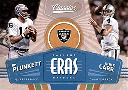 2018 Classics Football Eras #2 Derek Carr/Jim Plunkett Oakland Raiders Panini NFL Card