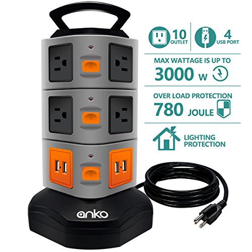 Power Strip Tower Anko 3000w 13a 16awg Surge Protector Electric Charging Station 10 Outlet Plugs With 4 Usb Slot 6feet Cord Wire Extension Universal Charging Station 1 Pack