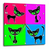 3dRose dpp_6304_3 Black Cat Four Attitudes Design Wall Clock, 15 by 15-Inch For Sale