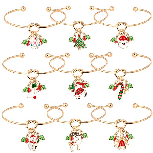 Christmas Charm Bracelet Holiday Jewelry Set Gift for Womens Girls, Thanksgiving Xmas Love Knot Bracelet Christmas Snowman Snowflake Deer Claus Christmas Tree Bracelet Crutches Christmas Socks Bell.
