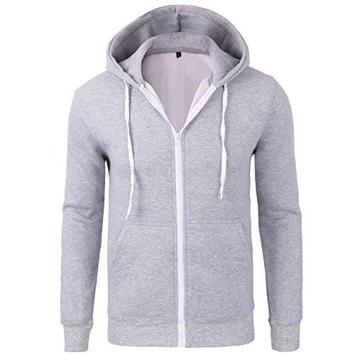 Lightweight Knit Activewear Zip (Manwan walk Men's Cotton Full-Zip Fleece Hoodie EcoSmart Hoodie Sweatshirt W145 (XX-Large, Light Grey))