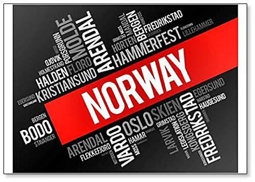 List Of Cities And Towns In Norway, Word Cloud Collage, Illustration - Classic Fridge Magnet (List Of States And Capitals By Region)