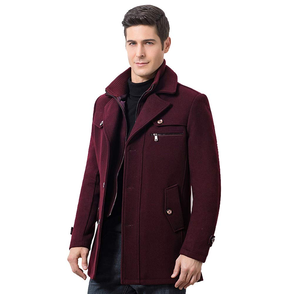 Buy Diandianshop Coat For Hoodie Mens Winter Thickened Warm Woolen Coat Solid Color Business Casual Trench Coat Wine Red X Large At Amazon In