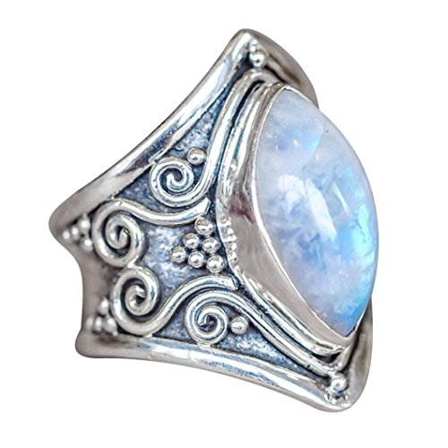 Muranba Boho Jewelry Silver Natural Gemstone Marquise Moonstone Personalized Ring (Sliver, 10) (3 Moonstone Gem New)
