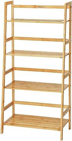 Estante de escalera de bambú de 4 niveles Multifuncional Soporte de exhibición de flores Estante de almacenamiento Estante para libros Estantería de libros, para la escuela Decoración del hogar: Amazon.es: Hogar