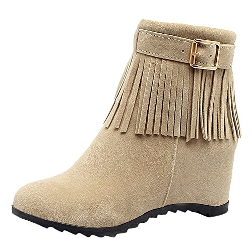 Short Women's Inside Mee Boots Tassel Heel Charm Zip Buckle Beige Shoes Rw8Za