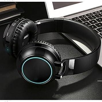 Y1Cheng Auriculares Bluetooth Auricular Bluetooth Inalámbrico 24 Horas Tiempo De Trabajo Apoyo TF Tarjeta De Luces Led para Pc Móvil Bluetooth TV 10M De ...