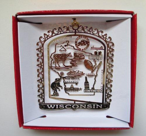 Wisconsin Christmas ORNAMENT Brass State Souvenir - Dells Baraboo