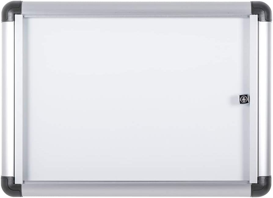 Bi-Office Boletín Enclore Extra - Superficie magnética en acero lacado, Tablón de anuncios con puerta con bisagras para aluminio interior, 513 x 371 mm - 2xA4