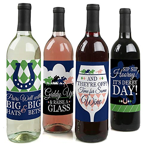 Kentucky Horse Derby - Horse Race Party Decorations for Women and Men - Wine Bottle Label Stickers - Set of 4 -