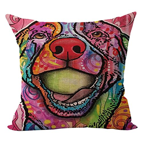 Sunward 2017 Dog Style Cotton Linen Canvas Decorative Square Throw Pillow Cover 18 x 18 (R)