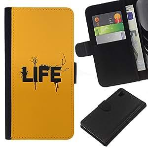 LECELL--Cuero de la tarjeta la carpeta del tirón Smartphone Slots Protección Holder For Sony Xperia Z1 L39 -- Tipografía Vida --