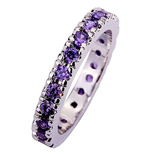 Psiroy 925 Sterling Silver Created Amethyst Filled Eternity Stacking Ring Band Size 9
