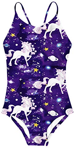 (Girls Swimsuits Funny Purple Unicorn Galaxy Universe Space Star Print One Piece Bathing Suits Beach Sport Bandage Strap Cross Back Swimwear for Toddler Little Kids,Galaxy Unicorn Space,7-8 Years)