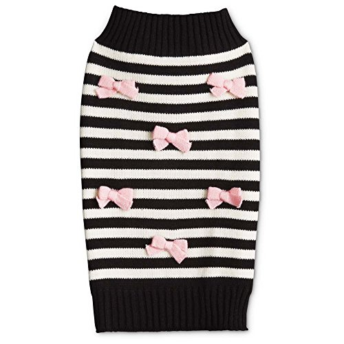 - Bond & Co. Striped Dog Sweater With Pink Bows, Small, Black