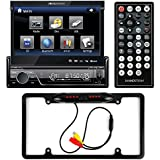 Soundstream VIR-7830B Single-DIN Bluetooth Car Stereo DVD Player w/ 7 LCD Touchscreen + Cache Night Vision Car License Plate Rearview Camera - Black CAM810B