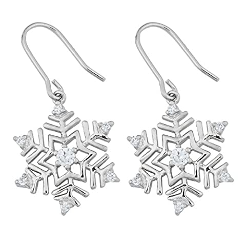 Sterling Silver and Cubic Zirconia Snowflake Dangle Earrings (Sterling Snowflake Earrings)