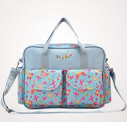 Momia multifunción bebé cambiador de pañales mochila bolsa de viaje bolso de hombro Dandelion Blue Butterfly