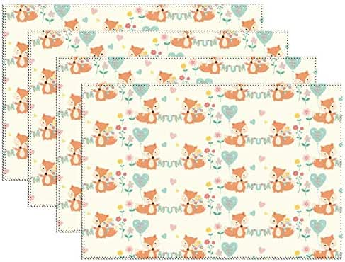 DKISEE Stain Resistant Placemats, Mum Mummy and Baby Foxes Anti-Skid Washable Polyester Table Mats Non Slip Washable Placemats, 12