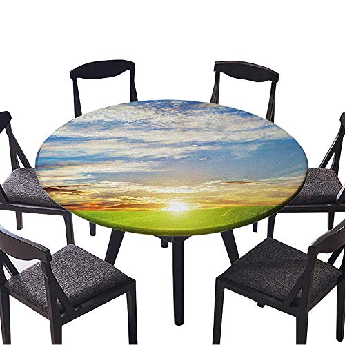 Youdeem-tablecloth Circular Table Cover Green Grass Landscape at Sunset Romantic Clouds HD Background for Wedding Banquet 63