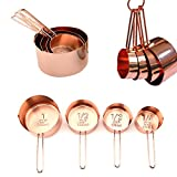 #3: Copper Stainless Steel Measuring Cups, Set of 4 - Gorgeous & Heavy Duty, Mirror Polished, Ideal For All Ingredients