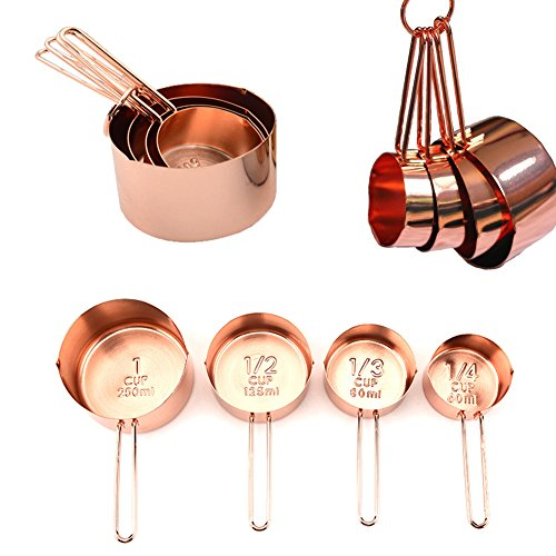 Copper Stainless Steel Measuring Cups, Set of 4 - Gorgeous & Heavy Duty, Mirror Polished, Ideal For All Ingredients