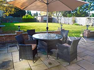 Melbourne Outdoor Patio Furniture: Round 4 Seater Dining Set with Parasol