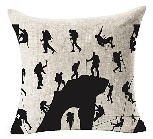 European Popular Thrilling Field Outdoor Extreme Sport Cool Posture And Action Rock Climbing Cotton Linen Throw Pillow Case Cushion Cover NEW Home Decorative Square 18 Inches (Field Cotton Throw)