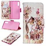 for Samsung Galaxy A70 Wallet Case and Screen Protector,QFFUN Glitter 3D Pattern Design [Cat] Magnetic Stand Leather Phone Case with Card Holder Drop Protection Etui Bumper Flip Cover