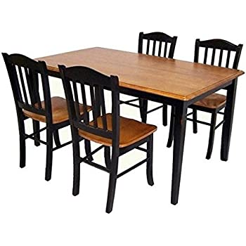 Amazon.com - Boraam 80536 Shaker 5-Piece Dining Room Set, Black ...