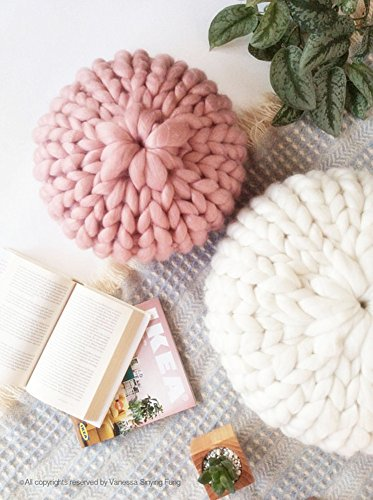 (Super Chunky Throw Pillow Cover Cushion Deluxe Home Decorative Super Soft 11.8x7.9in Wool Knit Cozy Round Pillow Couch Decorative Pillow Cushion ... (Pink))