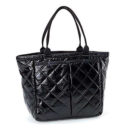 LeSportsac Black Crinkle Quilted Patent Small Everygirl Tote + Cosmetic Bag, Style 7470/Color H026