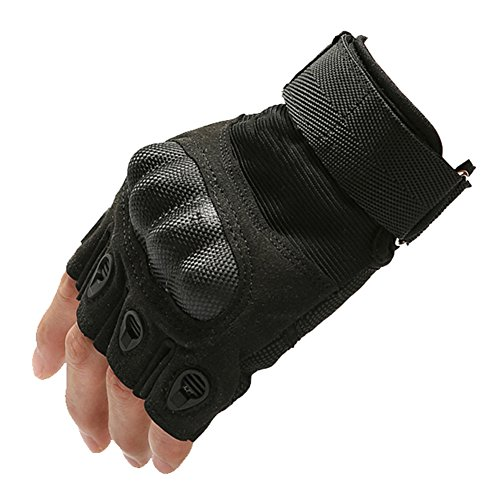 iBlood Men's Hard Knuckle Half-finger Tactical GYM Weightlifting Exercise Airsoft Hunting Riding Sport Cycling Parkour Fitness Fingerless Gloves (Black, M)