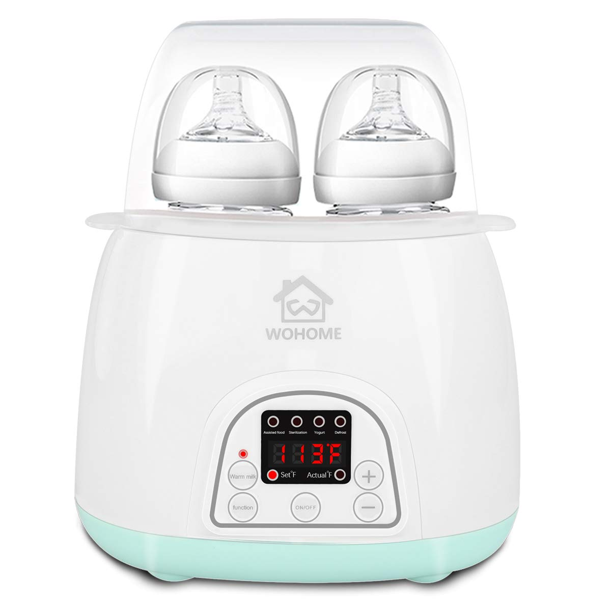 Bottle Warmer Sterilizer, WOHOME 5-in-1 Baby Bottle Warmer with Rapid Heating Warm Milk Formula Heat Food Defrost, LED Display and Accurate Temperature Control, White by WOHOME