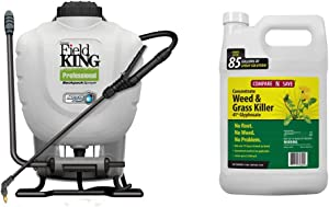 D.B. Smith Field King 190328 Backpack Sprayer, 4 Gallon, & Compare-N-Save 016869 Concentrate Grass and Weed Killer, 41-Percent Glyphosate, 1-Gallon, White