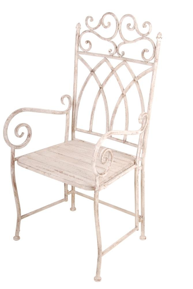 2 Stück Esschert Design Gartenstuhl im Antik-Design mit Armlehnen und Holzsitzfläche, ca. 55 cm x 53 cm x 110 cm