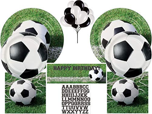 Kids Soccer Party Pack includes Plates, Napkins, Banner and Balloons for 24 ()