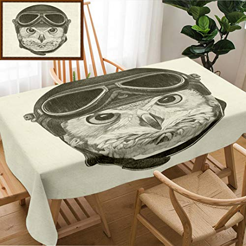 Skocici Unique Custom Design Cotton and Linen Blend Tablecloth Portrait of Owl with Vintage Helmet Hand Drawn IllustrationTablecovers for Rectangle Tables, 60
