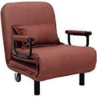 Giantex 26.6 Convertible Sofa Bed Folding Arm Chair Sleeper Leisure Recliner Lounge Couch (Coffee)