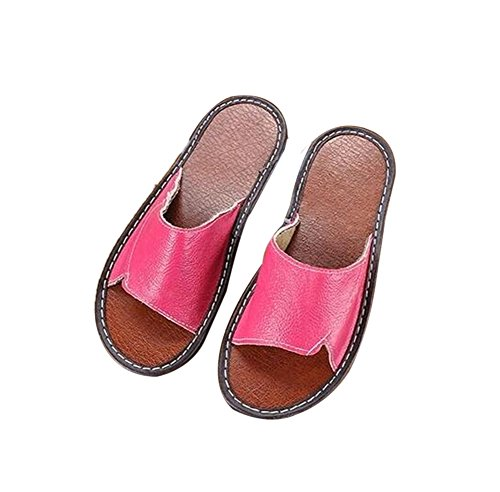 Spring Cowhide for Autumn Leather Corium Smelly Summer Women Rose Floor Anti Slippers TELLW Men Wooden ZHIEqwZ