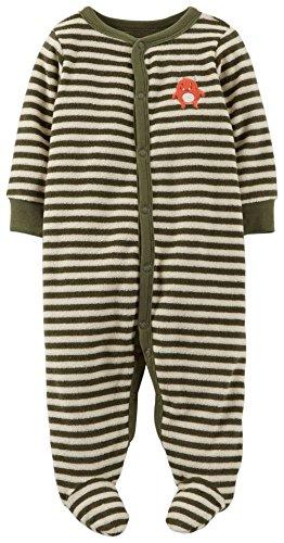 Carter's Striped Terry Footie (Baby) - Olive-Newborn