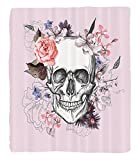 Chaoran 1 Fleece Blanket on Amazon Super Silky Soft All Season Super Plush Skulls Decorations Collectionkull Blooms Catholic Popular Ceremony Celebrating Artistic Vintage Design Fabric almon